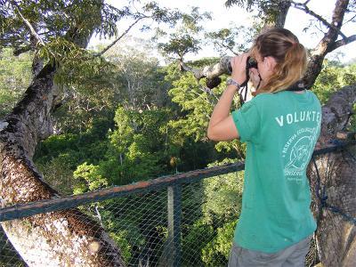 Projects Abroad vrijwilliger is tijdens haar vrijwilligerswerk vakantie in Peru bezig met vogelobservaties bij het natuurbehoud project.