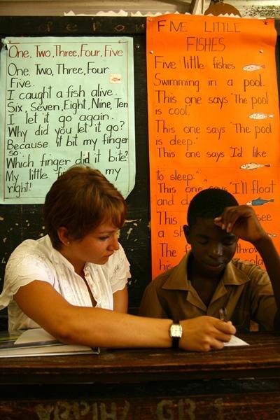 Lesgeven aan kinderen in Jamaica