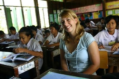 Lesgeven op een school in Thailand