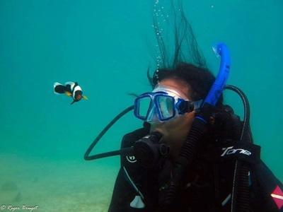 Projects Abroad vrijwilliger verzameld data tijdens het duiken op het natuurbehoud project in Cambodja