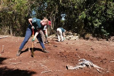 Bomen planten bij het natuurbehoud project