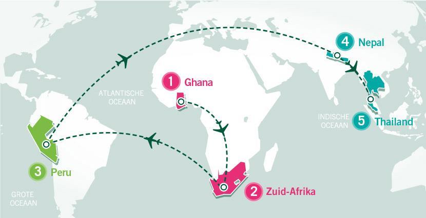 Global Gap Wereldreis route en bestemmingen